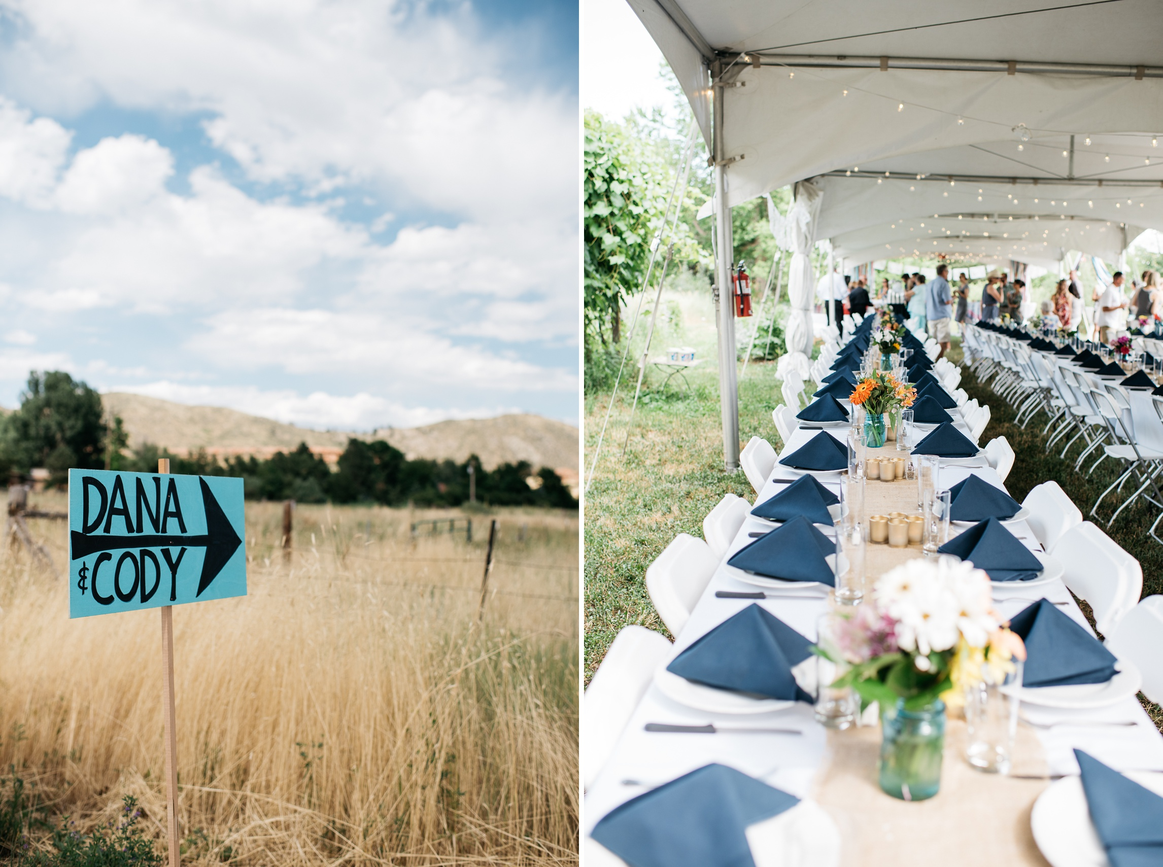 Signage and the party at a wedding reception outside of Fort Collins, Colorado. Wedding detail photography by Sonja Salzburg of Sonja K Photography.