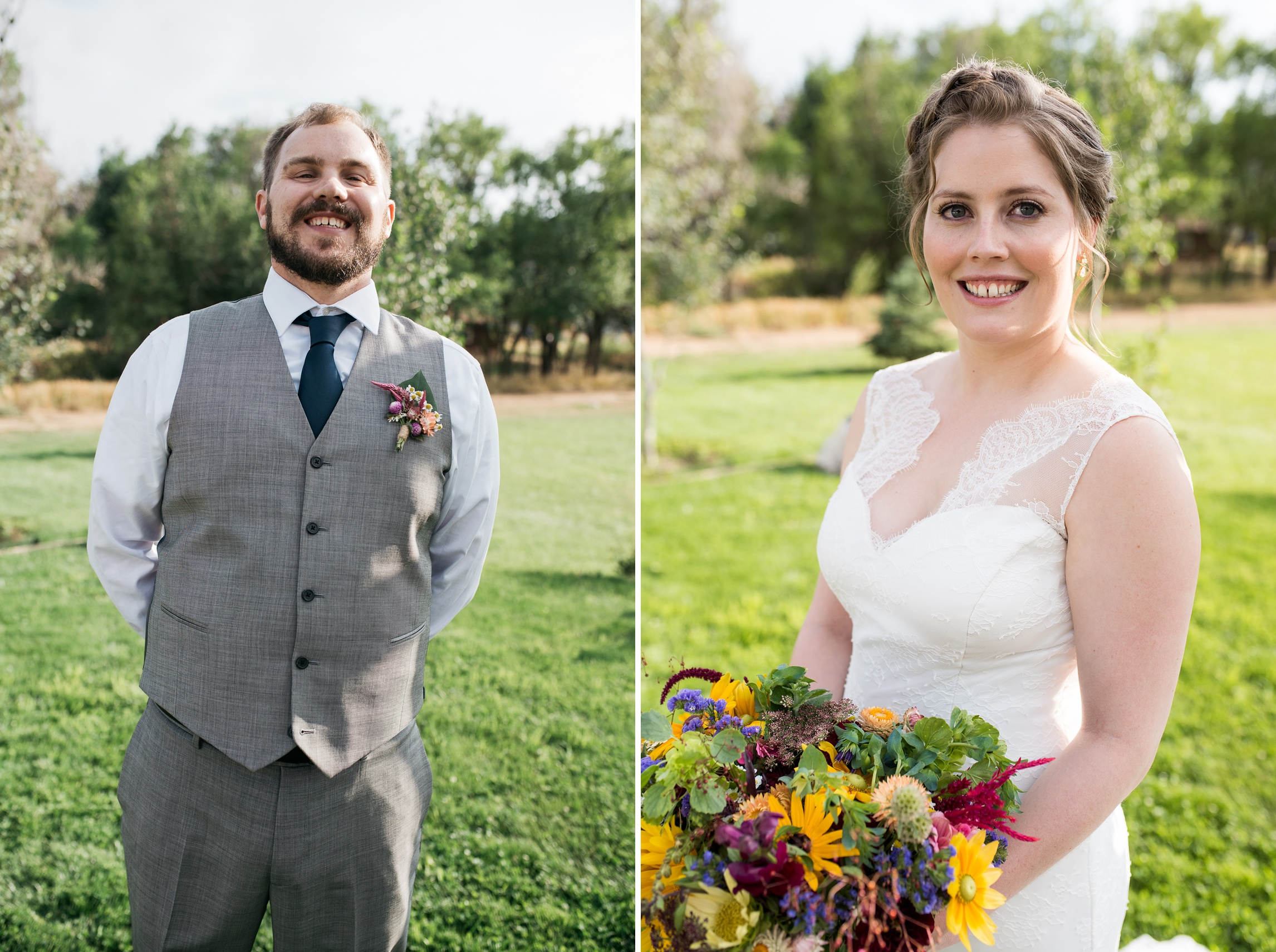 A groom and bride on their wedding day at Sylvan Dale Guest Ranch near Loveland, Colorado. Wedding photography by Sonja Salzburg of Sonja K Photography.