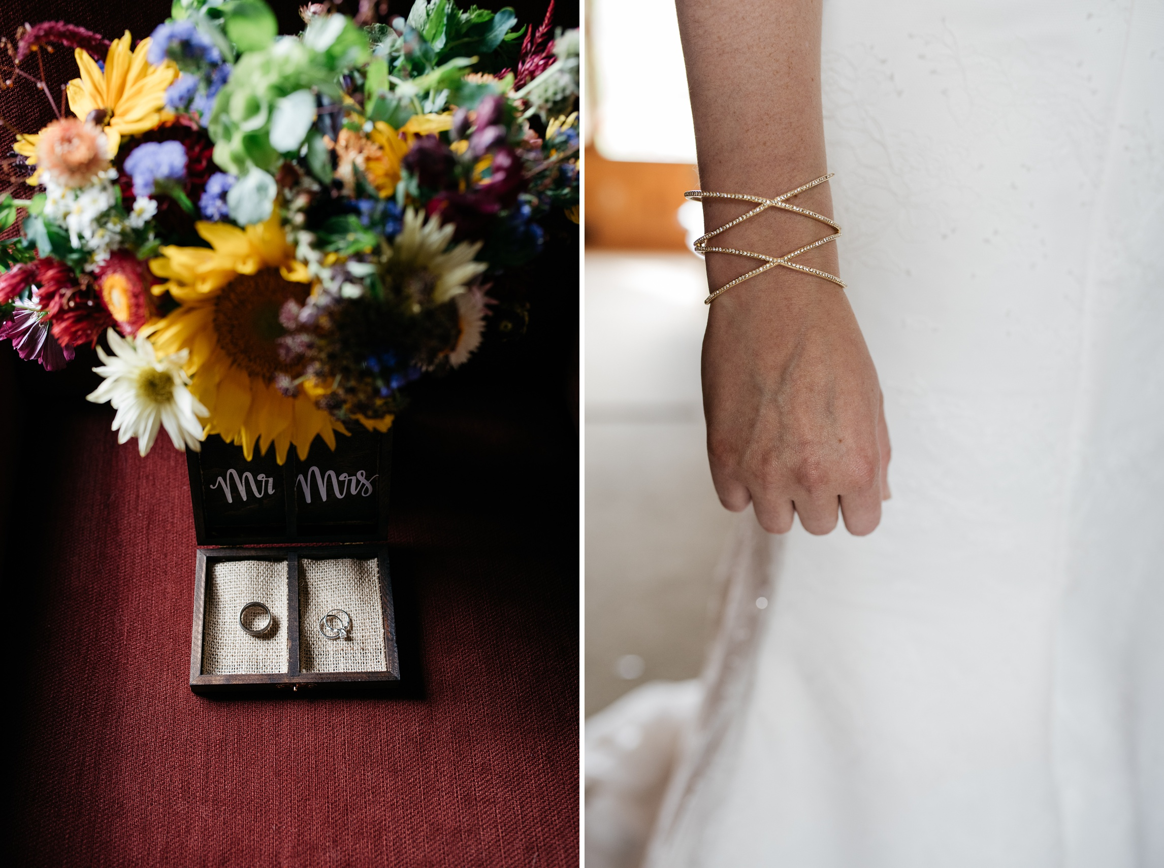 Detail shots from a wedding at Sylvan Dale Guest Ranch outside of Loveland, Colorado. Wedding photography by Sonja Salzburg of Sonja K Photography.