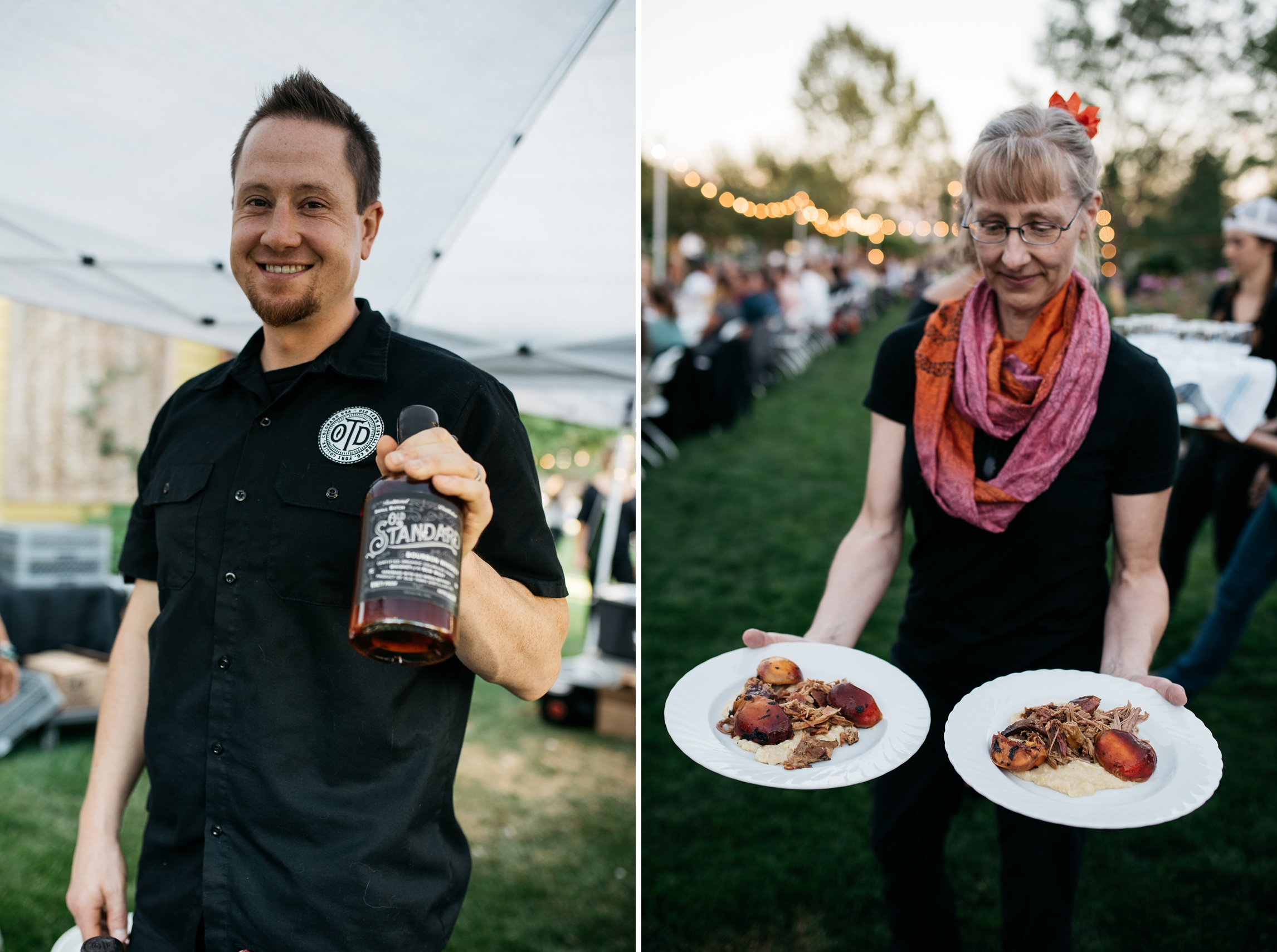 A happy vendor and server at the Fortified Collaborations Mishawaka 100 Year Harvest Dinner at Grant Farms CSA in Fort Collins, Colorado. Event photography by Sonja Salzburg of Sonja K Photography.