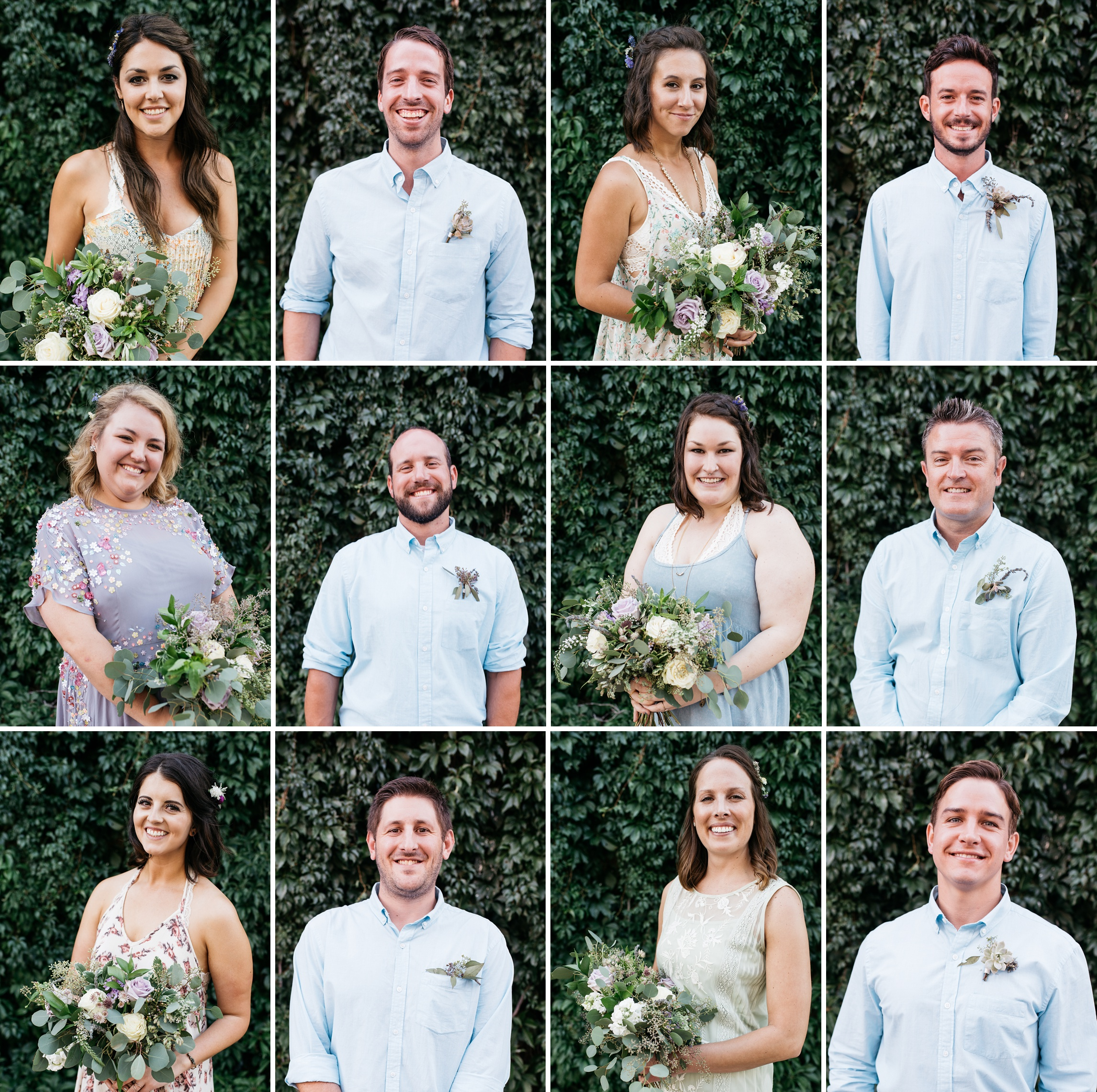 Head shots of the bridal party at an outdoor Colorado wedding in Old Town Fort Collins. Wedding photography by Sonja Salzburg of Sonja K Photography.