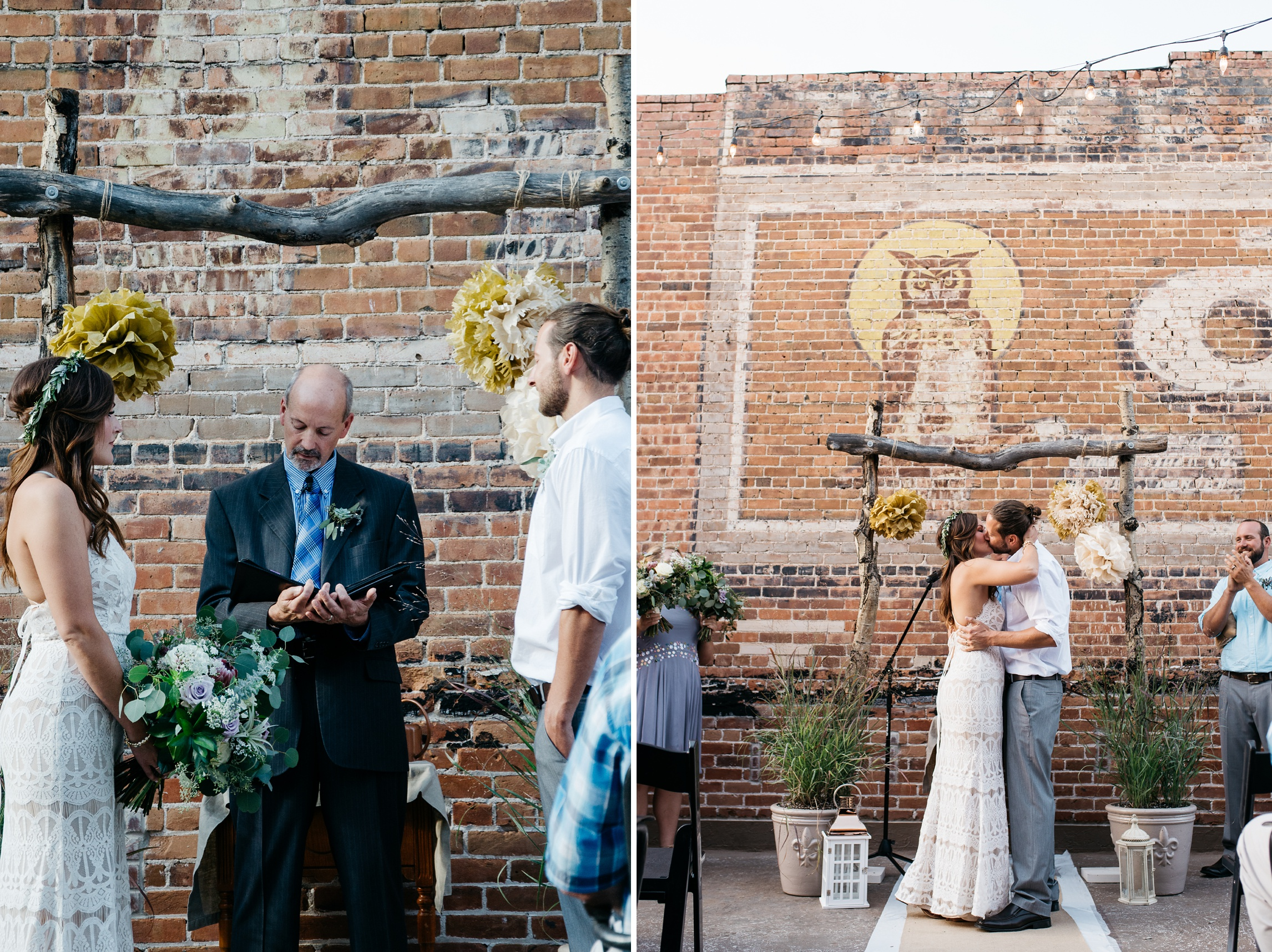 A bride and groom are married at an outdoor Colorado wedding in Old Town Fort Collins. Wedding photography by Sonja Salzburg of Sonja K Photography.
