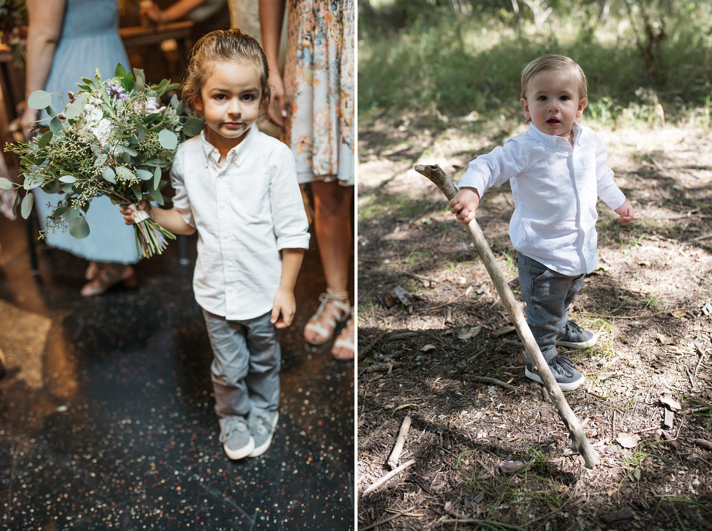 Adorable kids at an outdoor Colorado wedding in Old Town Fort Collins. Wedding photography by Sonja K Photography.