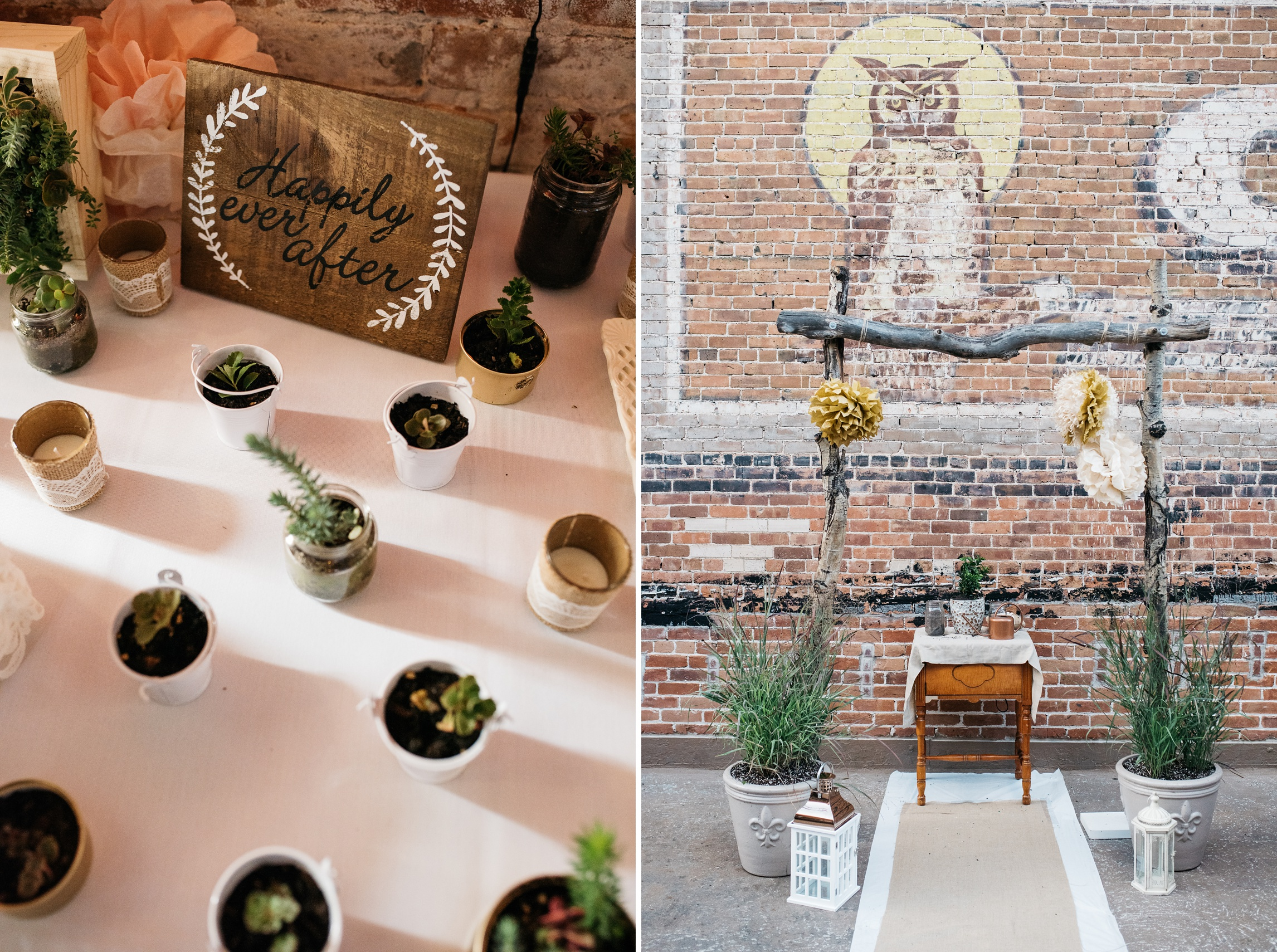 Detail shots of an outdoor Colorado wedding in Old Town Fort Collins. Succulents for the guests of the wedding left. The outdoor alter right. Wedding photography by Sonja Salzburg of Sonja K Photography.
