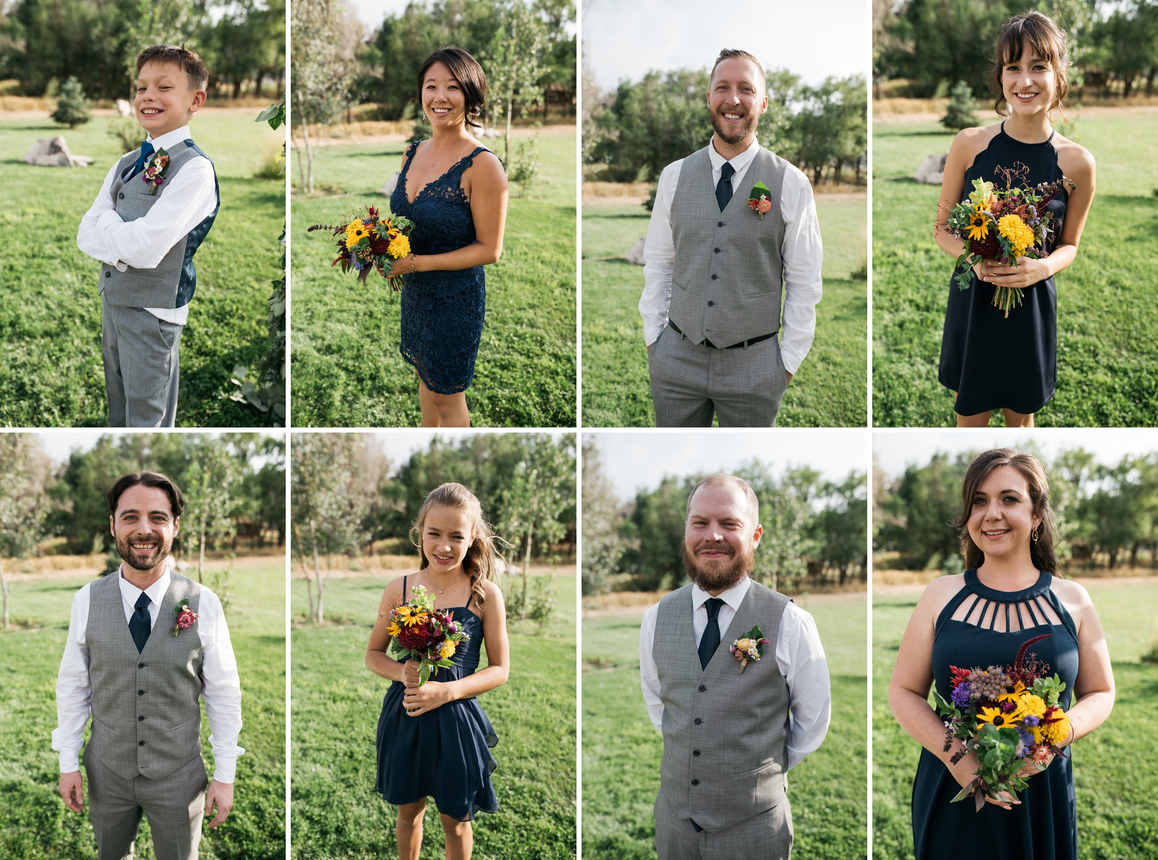 The wedding party at a wedding at Sylvan Dale Guest Ranch outside Loveland, Colorado. Wedding photography by Sonja Salzburg of Sonja K Photography.