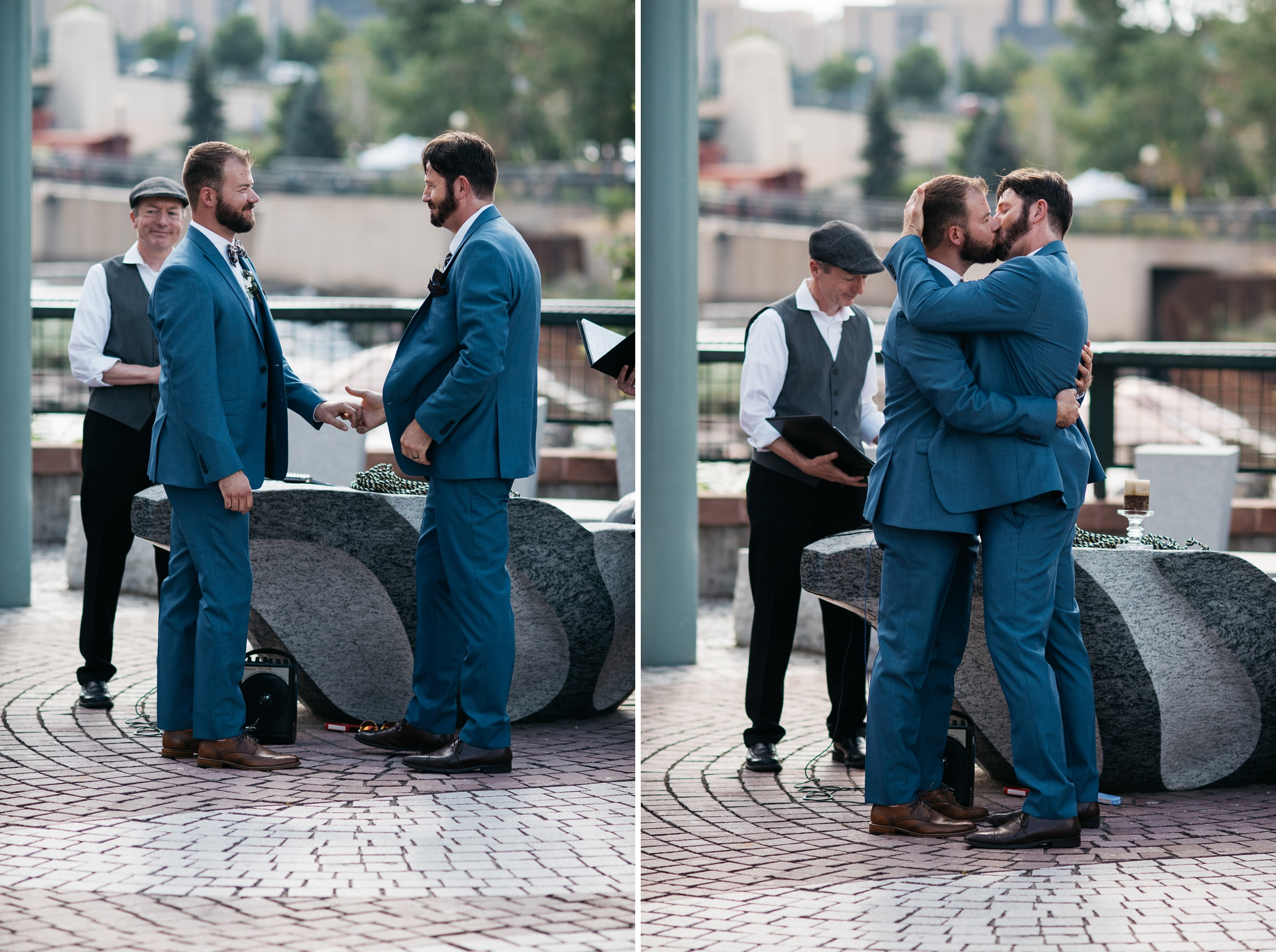 Weston and Karl are married in downtown Denver, Colorado. Gay wedding photography by Sonja Salzburg of Sonja K Photography.
