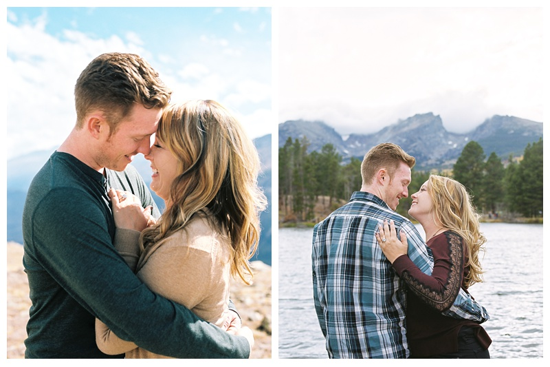 A happily engaged couple on a bright Colorado day outside at Rocky Mountain National Park. Engagement photography by Sonja Salzburg of Sonja K Photography.