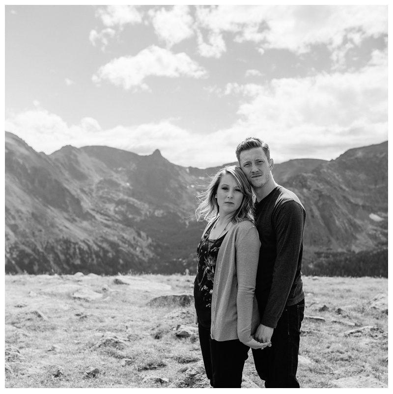 Michael and Miranda at Moraine Park in Rocky Mountain National Park, Colorado. Black and White engagement photography by Sonja Salzburg of Sonja K Photography.