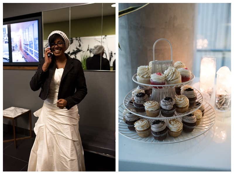 A bride gets ready for her wedding day. Cupcakes for the reception/ Wedding photography by Sonja Salzburg of Sonja K Photography.