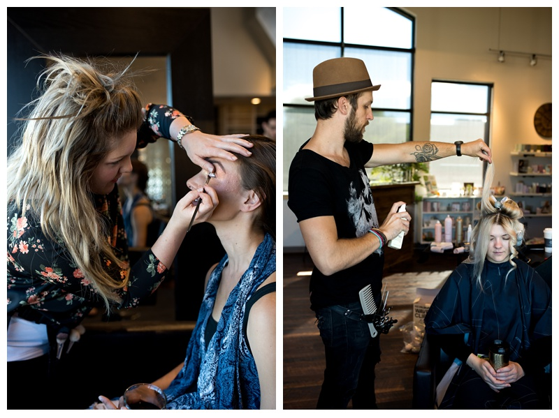 Ray Hornback does a model's hair at a styled shoot in Fort Collins, Colorado. Fashion photography by Sonja Salzburg of Sonja K Photography.