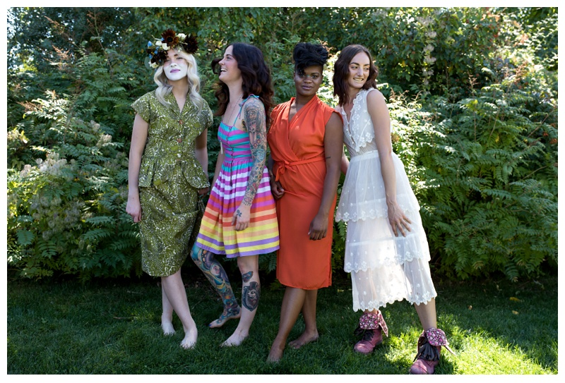 All four models together at a fashion styled shoot in Fort Collins, Colorado. Hair by Ray Hornback and Erik Lindstom of Voltage Salon. Fashion portrait photography by Sonja Salzburg of Sonja K Photography.