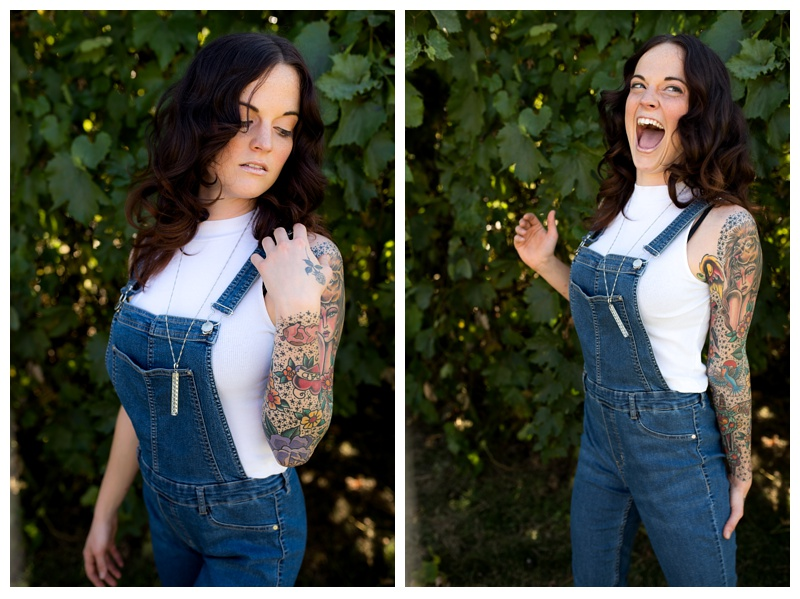 A model laughs at a fashion styled shoot in Fort Collins, Colorado. Hair styled by Ray Hornback and Erik Lindstom of Voltage Salon. Fashion portrait photography by Sonja Salzburg of Sonja K Photography.