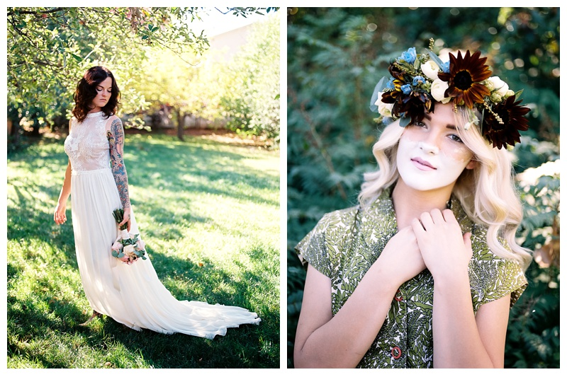 Models pose at a wedding styled shoot in Fort Collins, Colorado. Hair by Ray Hornback and Erik Lindstrom of Voltage Salon. Wedding fashion portrait photography by Sonja Salzburg of Sonja K Photography.