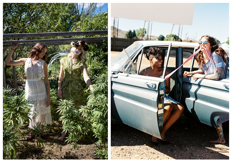 Models pose with marijuana and a Ford Falcon in a styled shoot in Fort Collins, Colorado. Hair by Ray Hornback and Erik Lindstrom of Voltage Salon. Fashion portrait photography by Sonja Salzburg of Sonja K Photography.