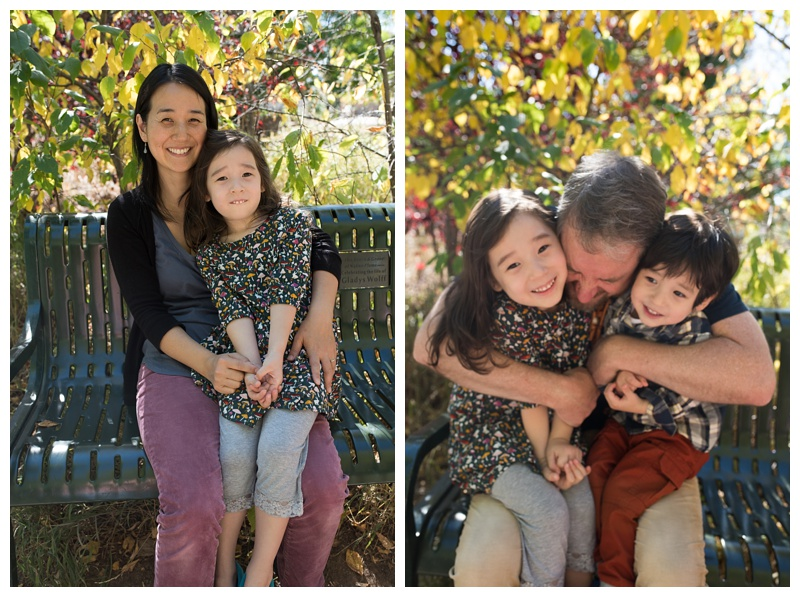 A happy family on a bight and sunny at the Gardens on Spring Creek in Fort Collins, Colorado. Family portrait photography by Sonja Salzburg of Sonja K Photography.