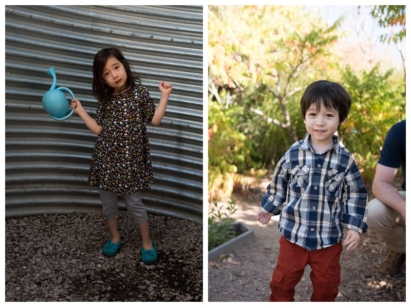 A cute little girl and boy at the Gardens on Spring Creek in Fort Collins, Colorado. Family portraits by Sonja Salzburg of Sonja K Photography.