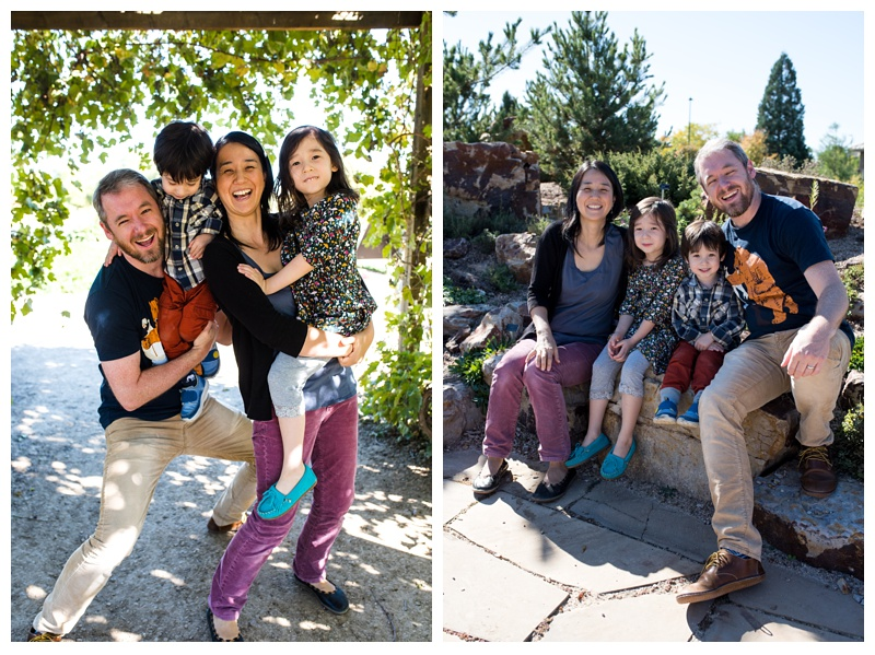 A happy family on a bright Fort Collins, Colorado day. Family portrait photography by Sonja Salzburg of Sonja K Photography.