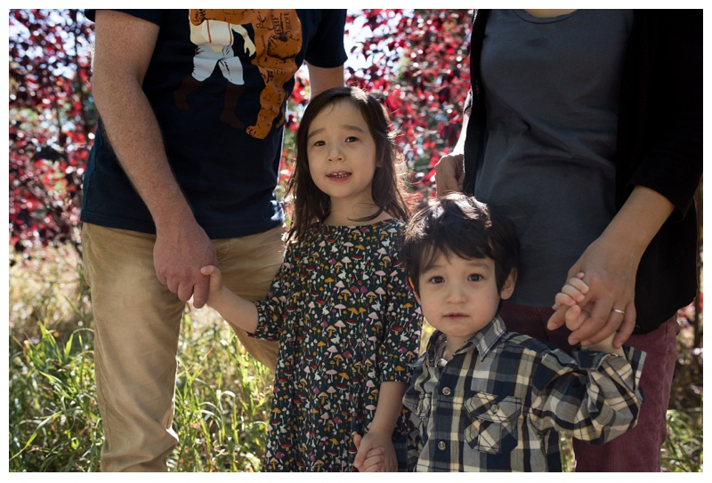 An adorable brother and sister at the Gardens on Spring Creek in Fort Collins, Colorado. Family portrait photography by Sonja Salzburg of Sonja K Photography.