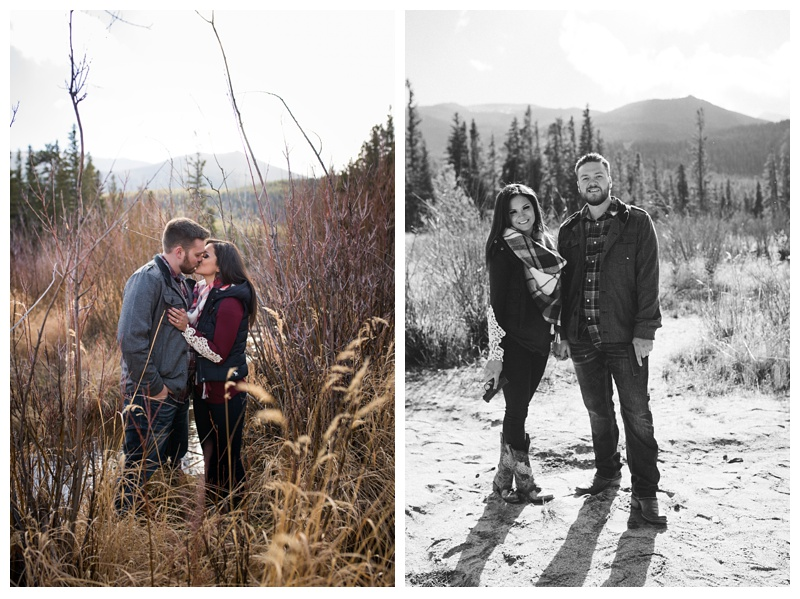 A couple poses with their hand guns in Rocky Mountain National Park in Colorado. Engagement photography by Sonja Salzburg of Sonja K Photography.