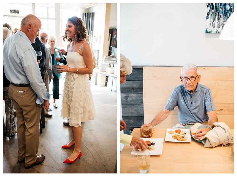 A bride and her family at a wedding at the Downtown Artery in Fort Collins, Colorado. Wedding photography by Sonja Salzburg of Sonja K Photography.