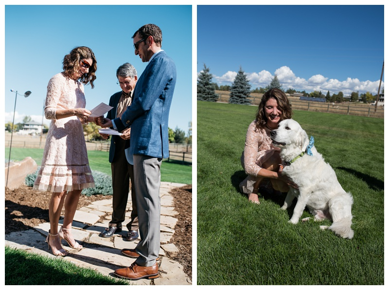 Amanda and Cameron exchange vows at a private residence in Fort Collins, Colorado. Wedding photography by Sonja Salzburg of Sonja K Photography.