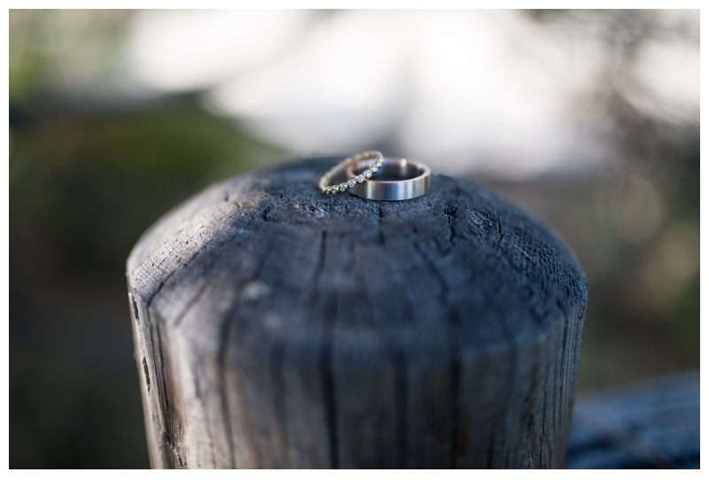 Wedding rings from an outdoor Fort Collins, Colorado wedding. Wedding photography by Sonja Salzburg of Sonja K Photography.