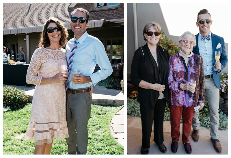 A happy couple and guests at a bright outdoor wedding in Fort Collins, Colorado. Wedding photography by Sonja Salzburg of Sonja K Photography.