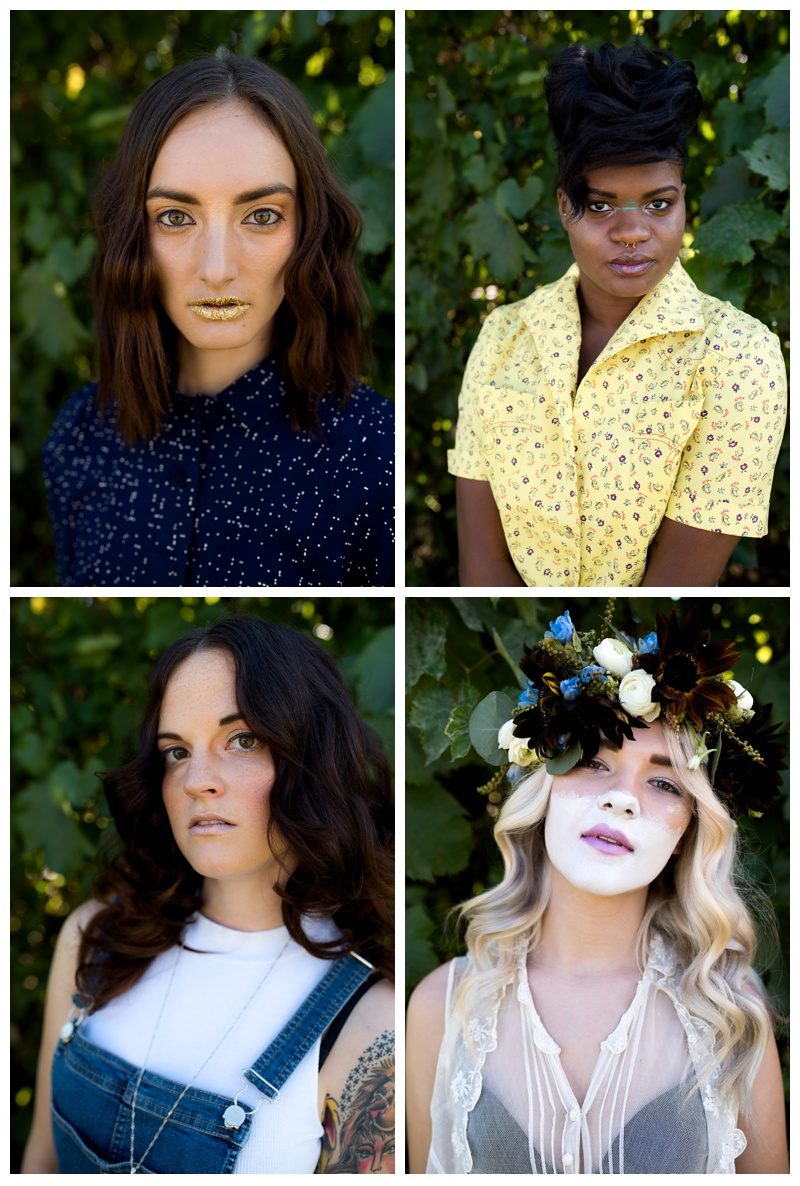 Head shots from the four models. Hair by Ray Hornback and Erik Lindstrom of Voltage Salon. Fashion portrait photography by Sonja Salzburg of Sonja K Photography.
