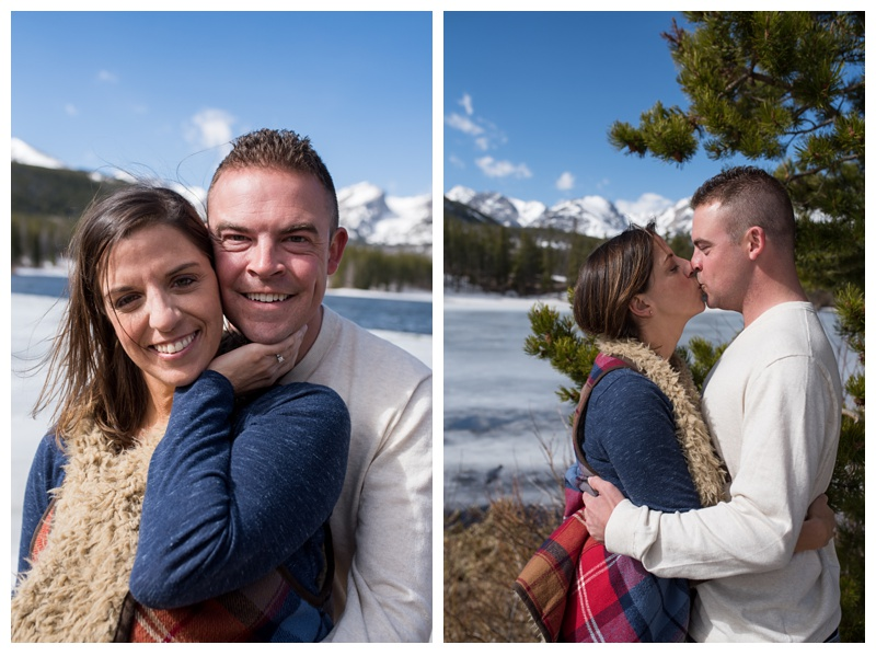 A newly engaged couple at Sprague Lake in Rocky Mountain National Park in Colorado. Wedding photography by Sonja Salzburg of Sonja K Photography.