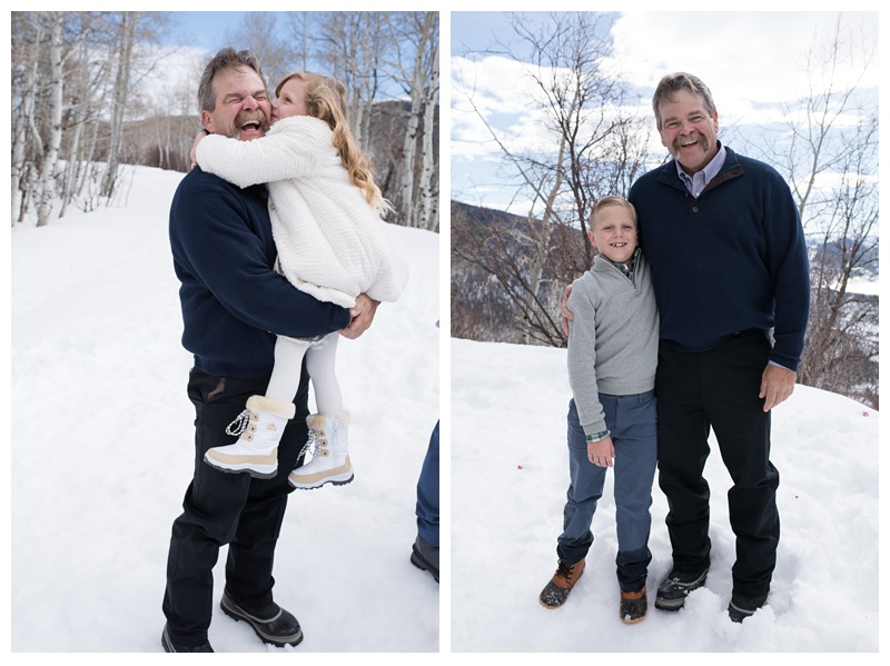 A grandfather and his grandchildren at a winter wedding at Rabbit Ears Pass in Steamboat Springs, Colorado. Wedding photography by Sonja Salzburg of Sonja K Photography.