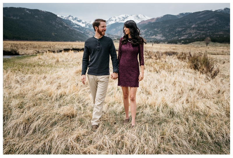 Christine and Jameson in Rocky Mountain National Park. Wedding engagement photography by Sonja Salzburg of Sonja K Photography.