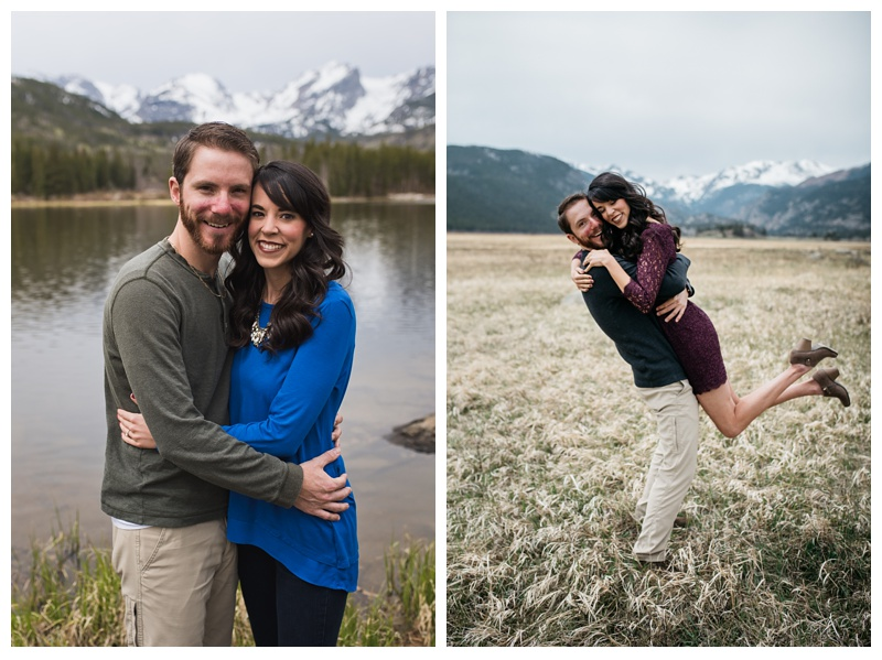 An engaged couple at Rocky Mountain National Park near Estes Park, Colorado. Wedding engagement photography by Sonja Salzburg of Sonja K Photography.