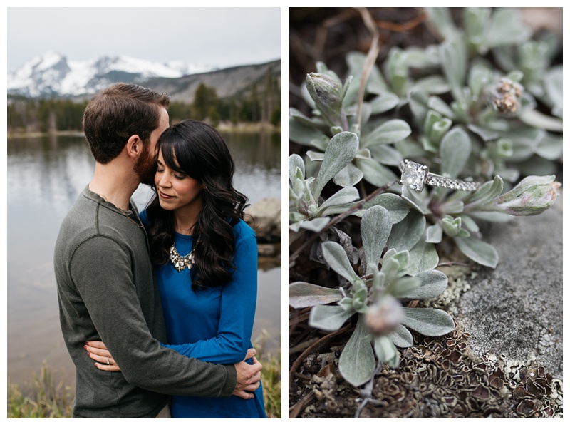 An engaged couple and the engagement ring at Rocky Mountain National Park near Estes Park, Colorado. Wedding photography by Sonja Salzburg of Sonja K Photography.