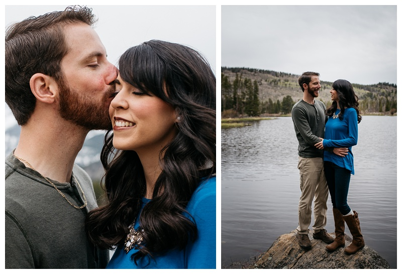 An engaged couple at a lake in Rocky Mountain National Park. Outdoor wedding engagement photography by Sonja Salzburg of Sonja K Photography.
