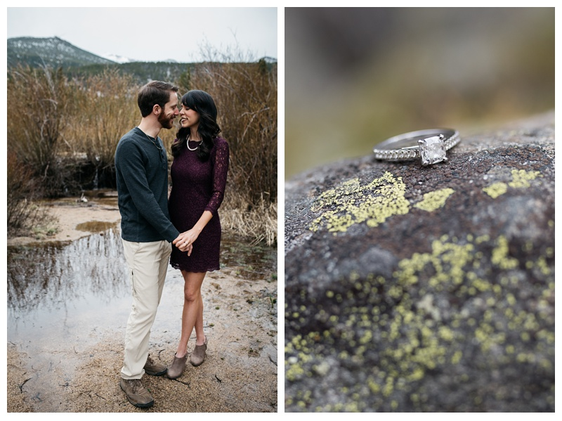 An engaged couple in Rocky Mountain National Park in Colorado. Wedding engagement photography by Sonja Salzburg of Sonja K Photography.
