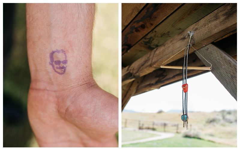 A stamp of Justin and bolo ties that will be worn in a wedding at Bingham Hill outside of Fort Collins, Colorado. Wedding photography by Sonja Salzburg of Sonja K Photography.