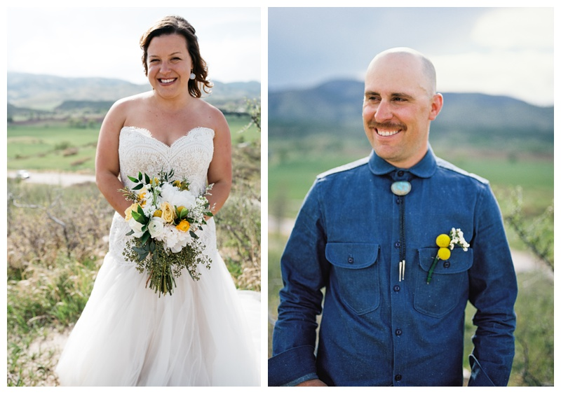 Katie and Justin on their wedding day at Bingham Hill outside of Fort Collins, Colorado. Wedding photography by Sonja Salzburg of Sonja K Photography.