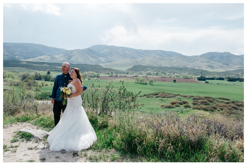 Justin and Katie on their wedding day at Bingham Hill outside of Fort Collins, Colorado. Wedding photography by Sonja Salzburg of Sonja K Photography.