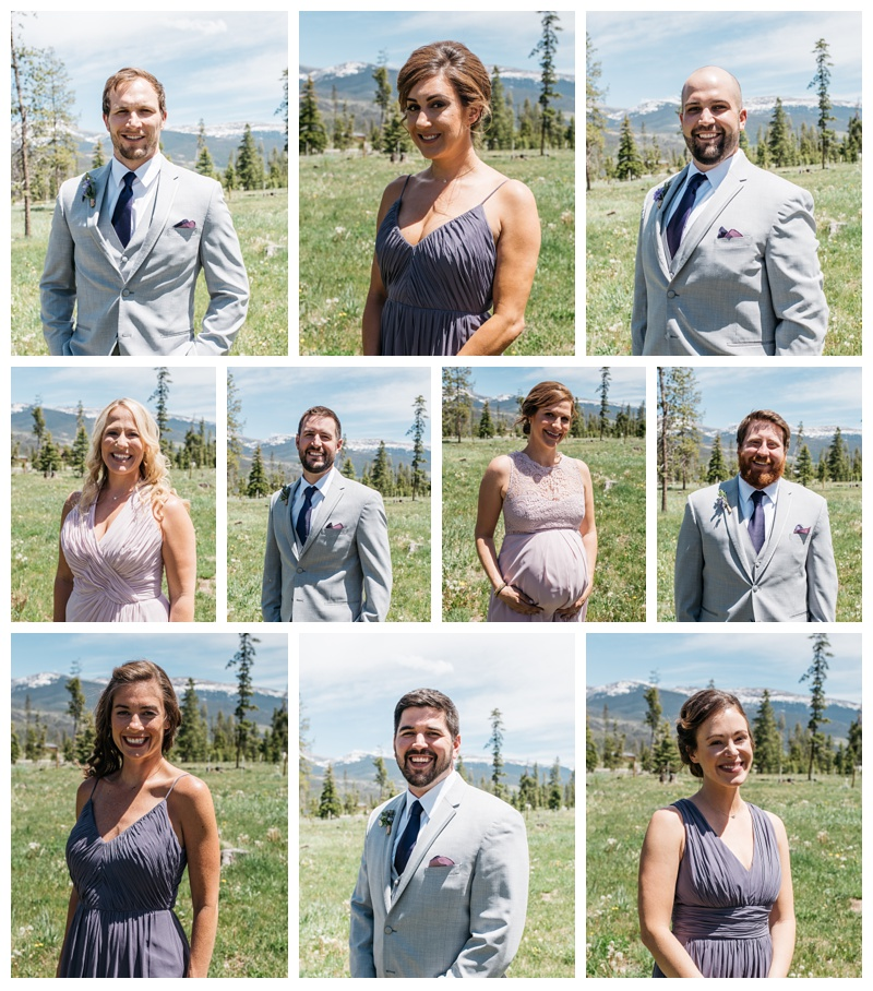 Head shots of the bridal party at a wedding at Wild Horse Inn outside of Winter Park, Colorado. Wedding photography by Sonja Salzburg of Sonja K Photography.
