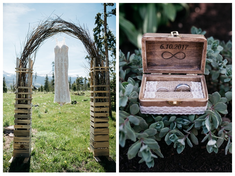 The wedding dress and the wedding rings at a wedding at Wild Horse Inn outside of Winter Park, Colorado. Wedding photography by Sonja Salzburg of Sonja K Photography.