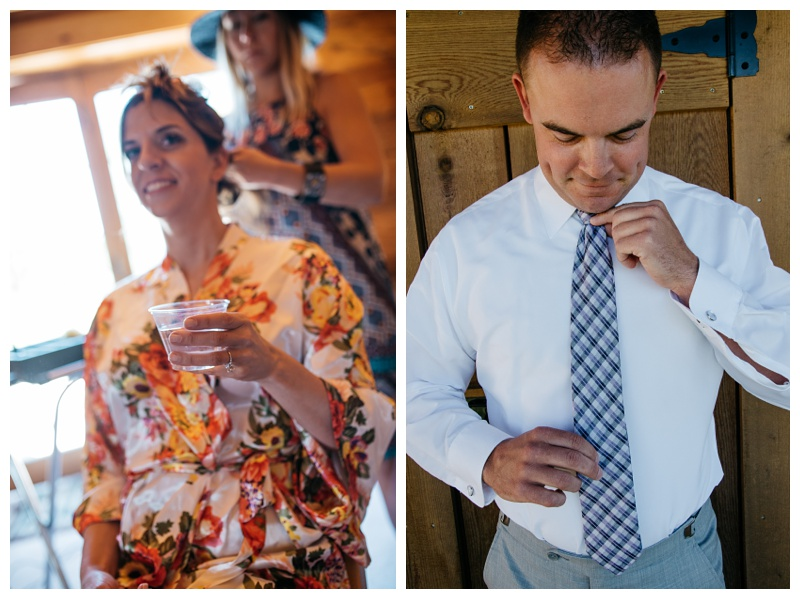 A bride and groom get ready for their wedding at Wild Horse Inn outside of Winter Park, Colorado. Wedding photography by Sonja and Max Salzburg of Sonja K Photography.