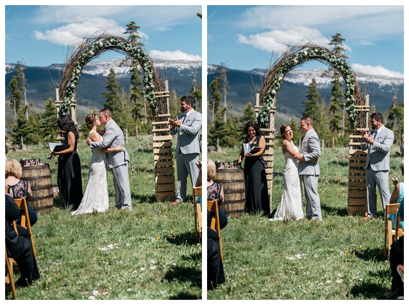 A bride and groom are married at Wild Horse Inn outside of Winter Park, Colorado. Wedding photography by Sonja Salzburg of Sonja K Photography.
