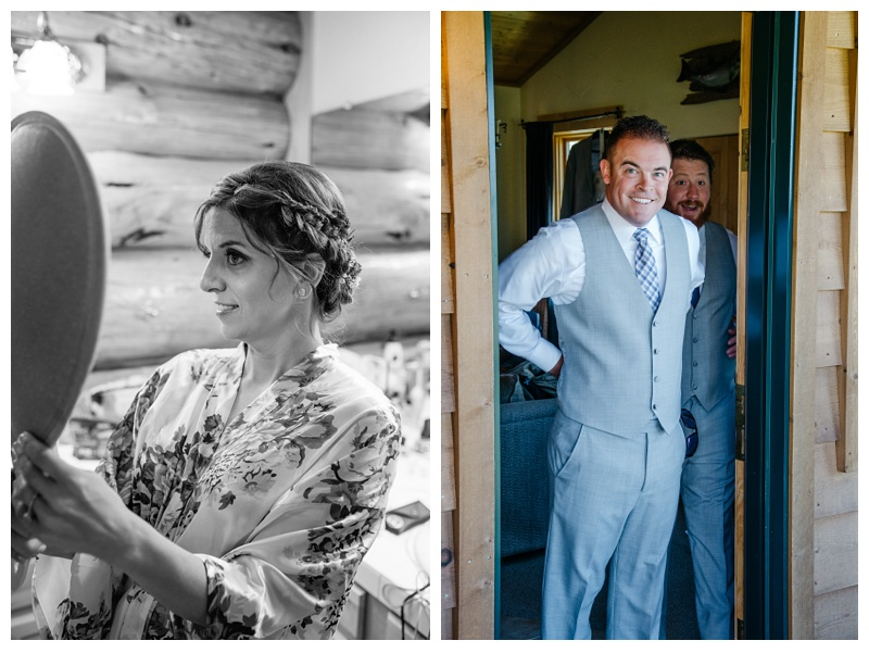 A bride and groom get ready for their wedding day at Wild Horse Inn outside of Winter Park, Colorado. Wedding photography by Sonja Salzburg of Sonja K Photography.