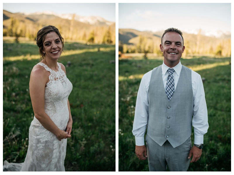 A bride and groom on their warm sunny wedding day in the Colorado Rocky Mountains at Wild Horse Inn near Winter Park. Wedding photography by Sonja Salzburg of Sonja K Photography.