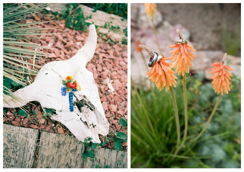 Detail shots of a boutonniere on a cow skull and wedding rings on a wild flower at a wedding near Platteville, Colorado. Wedding photography by Sonja Salzburg of Sonja K Photography.
