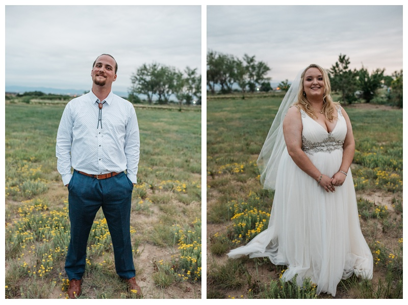Head shots of a groom and bride on their wedding day at Meadows Event Center near Platteville, Colorado. Wedding portrait photography by Sonja Salzburg of Sonja K Photography.