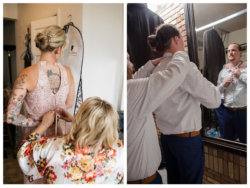 A brides maid and the groom get ready for a wedding at Meadows Event Center outside of Platteville, Colorado. Wedding photography by Sonja Salzburg of Sonja K Photography.
