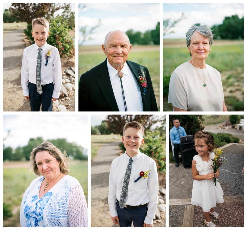 Head shots of family at a wedding at Meadows Event Center outside of Platteville, Colorado. Wedding portrait photography by Sonja Salzburg of Sonja K Photography.