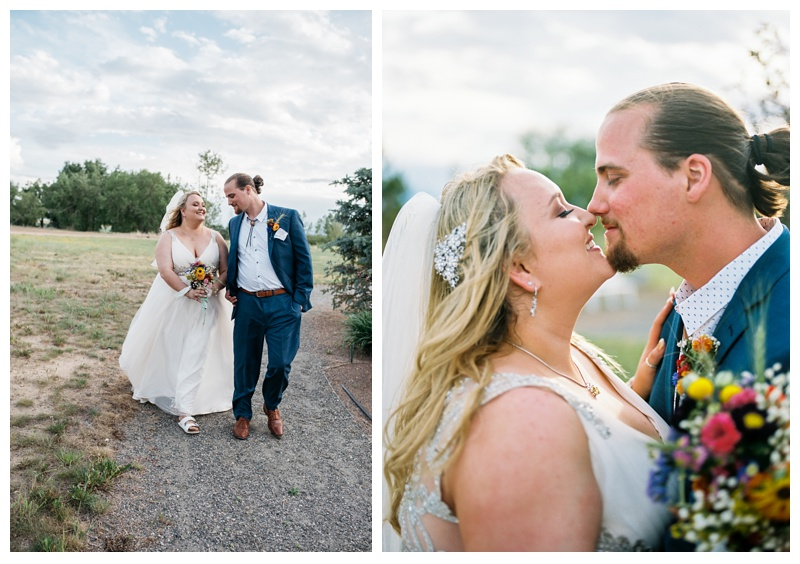 A bride and groom on their wedding day at Meadows Event Center near Platteville, Colorado. Wedding photography by Sonja Salzburg of Sonja K Photography.