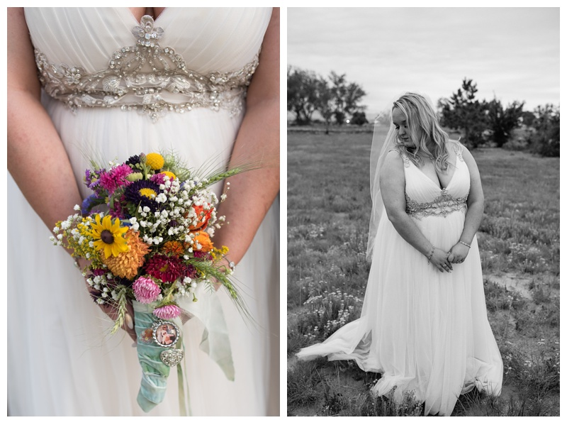 A beautiful bride and her bouquet on her wedding day at Meadows Event Center near Platteville, Colorado. Wedding photography by Sonja Salzburg of Sonja K Photography.